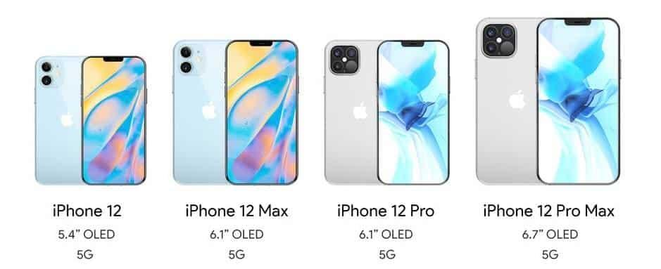 דגמים שונים של אייפון 12