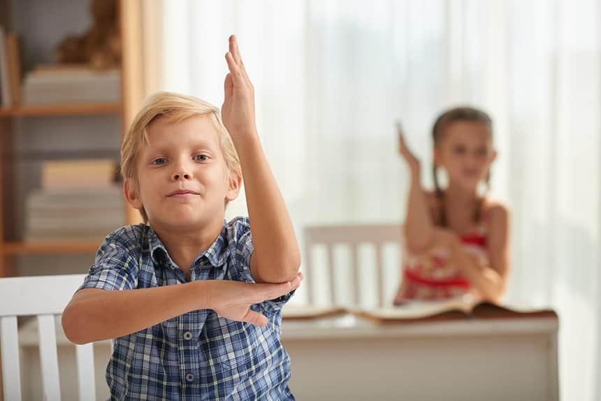 ילד קטן וחמוד מרים את היד שלו כדי לשאול שאלה עם ילדה קטנה ברקע