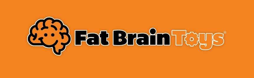 לוגו של חנות צעצועים זולה Fat Brain Toys על רקע כתום
