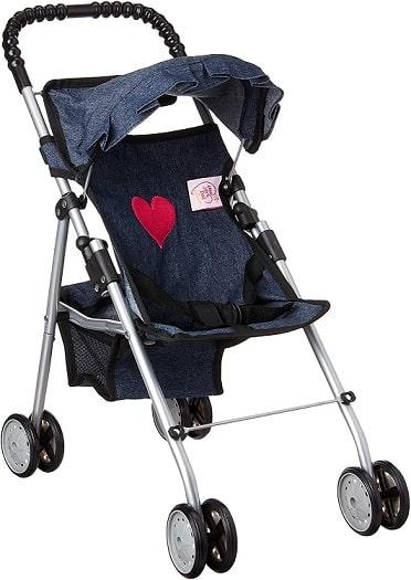 עגלה לבובה עם בד ג'ינס של חברת My First Doll Stroller