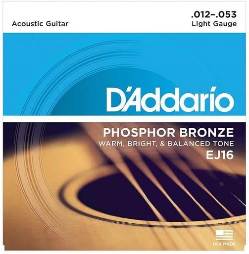 מיתרים לגיטרה אקוסטית של חברת D'Addario סדרה EJ16