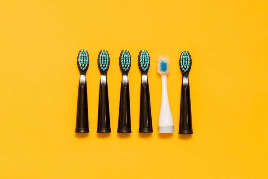 ראשים שונים של מברשות שיניים עומדים אחד ליד השני