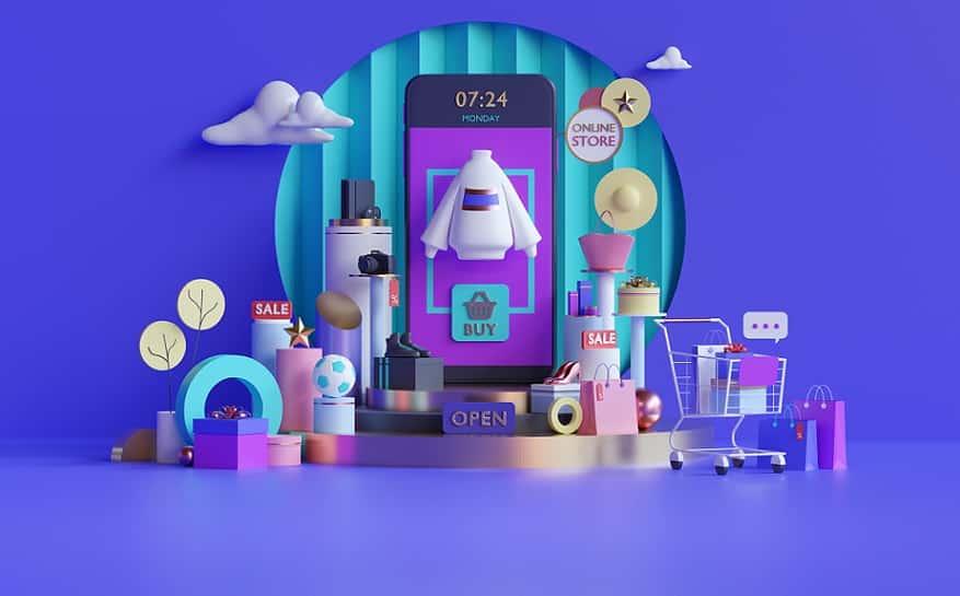 אילוסטרציה של הרבה מוצרים שונים מכל הסוגים על רקע סגול