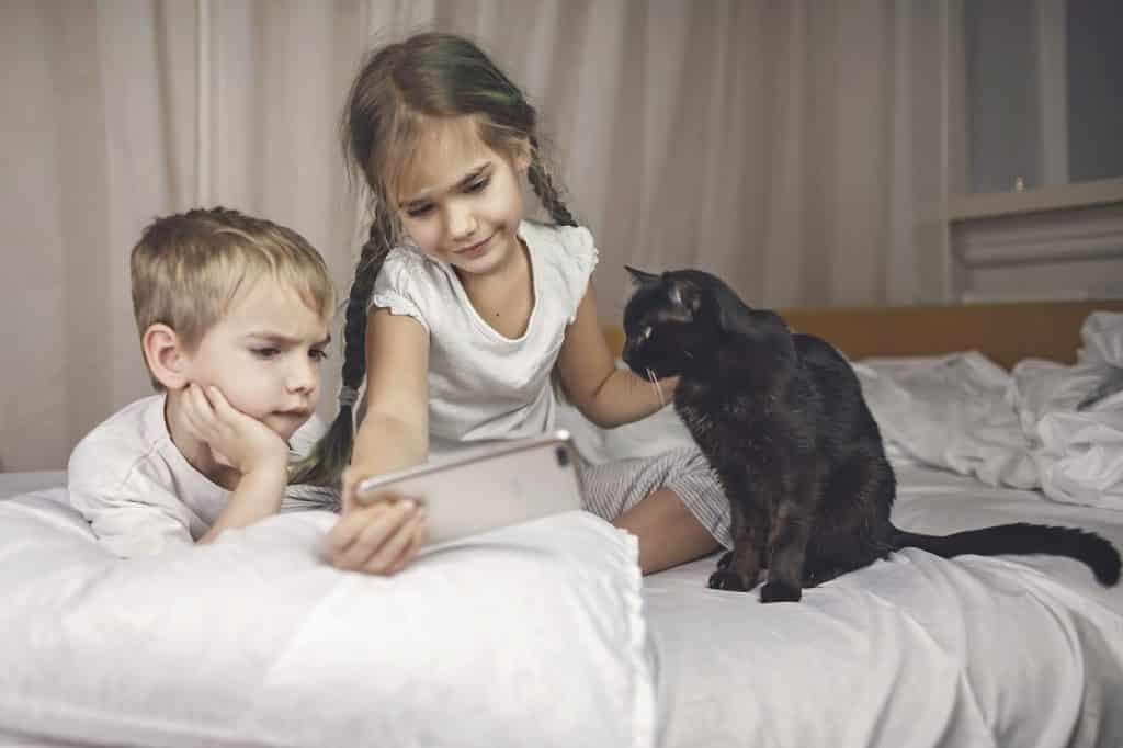 ילדים בפיג'מה צופים בסרטונים עם החתול השחור שלהם