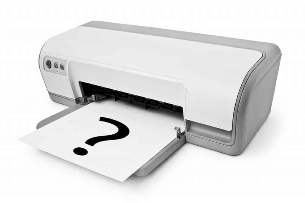 תמונה של מדפסת HP עם סימן שאלה על דף לבן