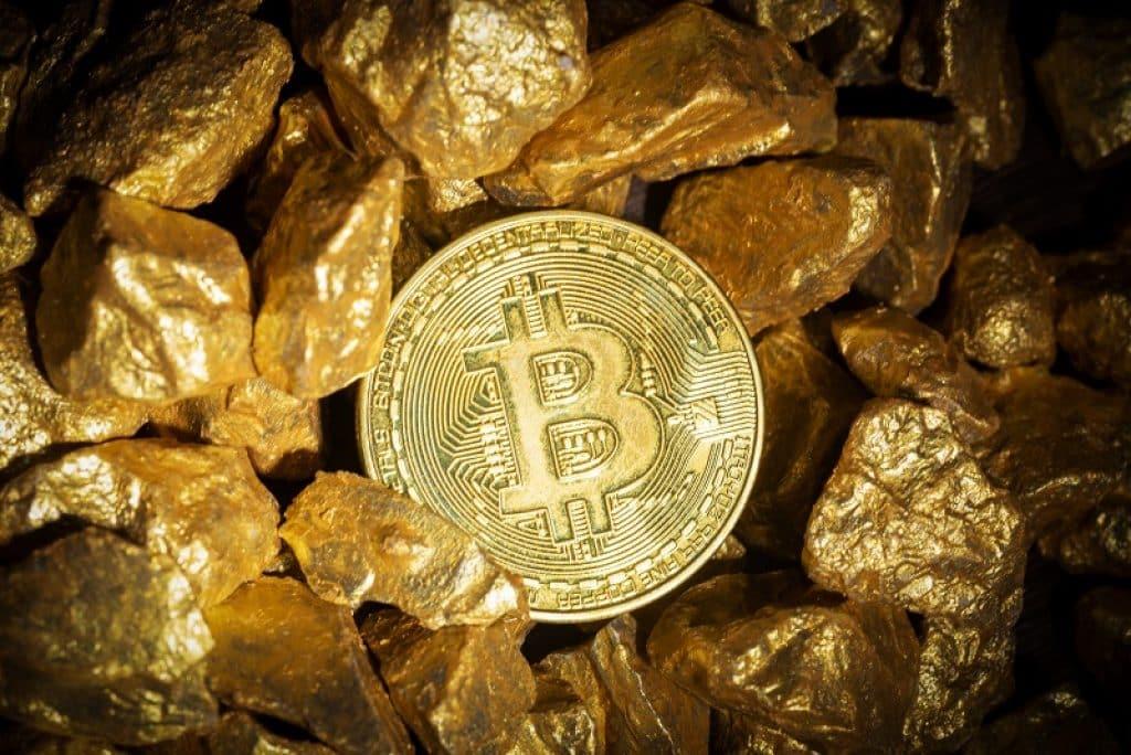 מטבע של ביט קווין קבור בתוך ערימה של מטילי זהב