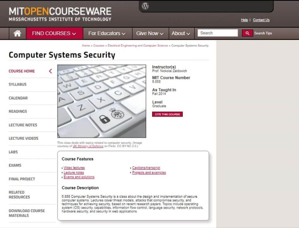 קורס אבטחת מערכות מחשוב של MIT