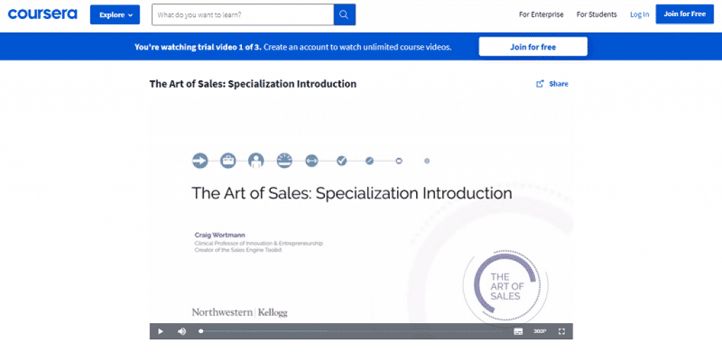 קורס אומנות המכירות של Coursera