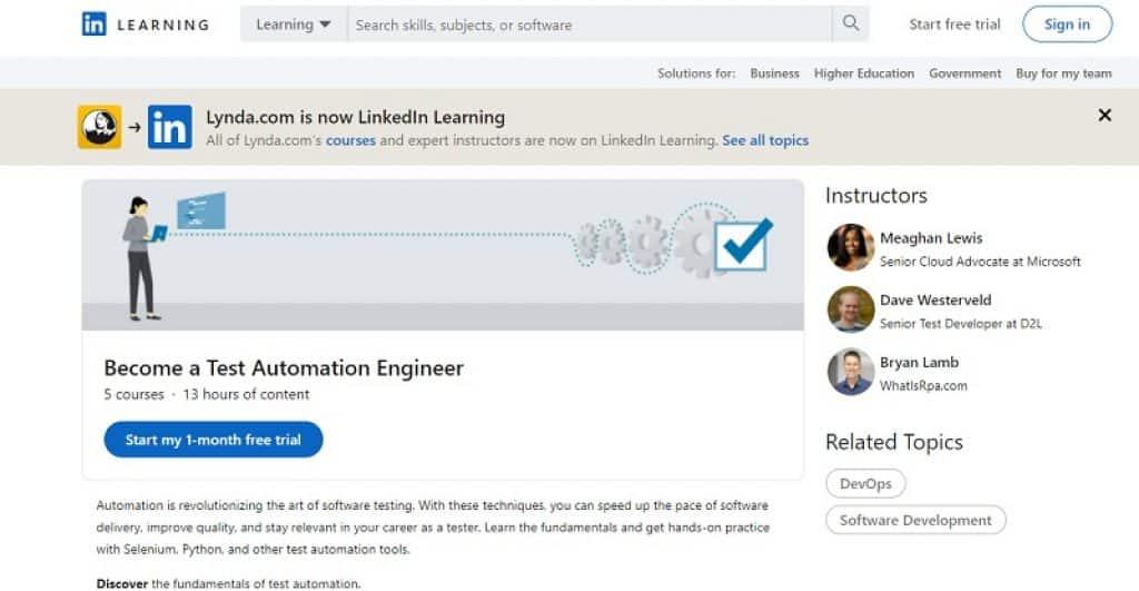 קורס בדיקות תוכנה אוטומטיות ב-LinkedIn Learning