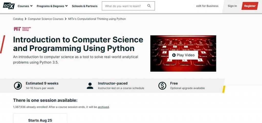 קורס מבוא למדעי המחשב ותכנות בשפת פייתון של MIT בפלטפורמת edX