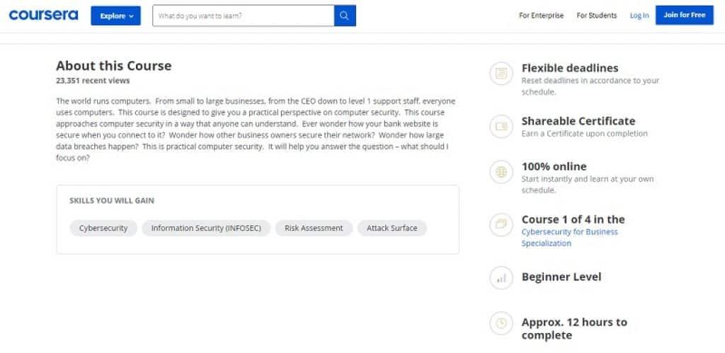 קורס מבוא לסייבר ואבטחת מידע עבור עסקים ב-Coursera