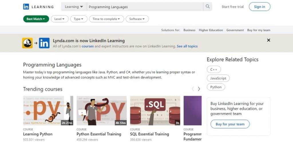 קורס תכנות בפלטפורמת הלמידה LinkedIn Learning